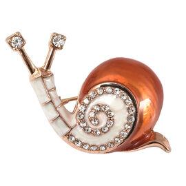 White Austrian Crystal Enamelled Snail Brooch in Gold Tone