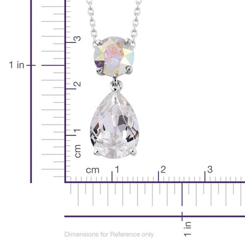 J Francis Crystal from Swarovski - White Crystal (Pear), AB Colour Crystal Pendant With Chain in Platinum Overlay Sterling Silver. Silver wt. 3.00 Gms.