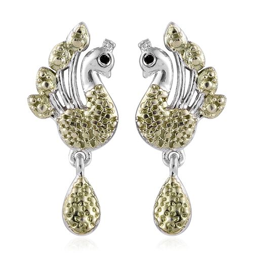 Designer Inspired- Green Diamond (Rnd) Peacock Earrings (with Push Back) in Platinum and Green Overlay Sterling Silver