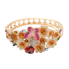 Multi Colour Crystal Floral & Ladybug Enamelled Bangle (Size 7) in Gold Tone