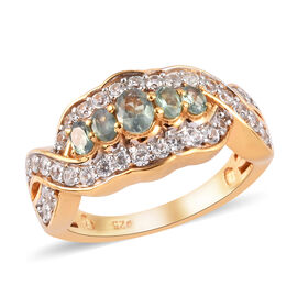Narsipatnam Alexandrite and Natural Cambodian Zircon Five Stone Ring in 14K Gold Overlay Sterling Si