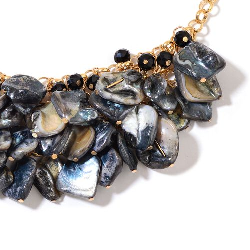 Black Shell and Simulated Black Spinel Necklace (Size 20 with 3 inch Extender) in Yellow Gold Tone