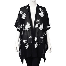 Flower Embroidery Pattern Kimono (Size 95x80 Cm) - Black