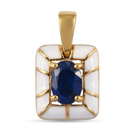 Tanzanian Blue Spinel Enamelled Pendant in 14K Gold Overlay Sterling Silver 1.00 Ct.