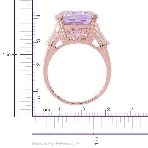 Limited Edition- Designer Inspired Rose De France Amethyst (Ovl 20X15 mm), White Topaz Ring in Rose Gold Overlay Sterling Silver 17.000 Ct. Silver wt. 6.55 Gms.