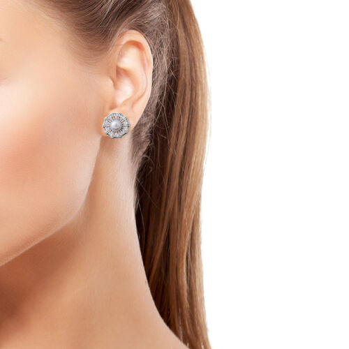 ELANZA Simulated Pearl (Rnd), Simulated Diamond Earrings (with Psuh Back) in Rhodium Overlay Sterling Silver
