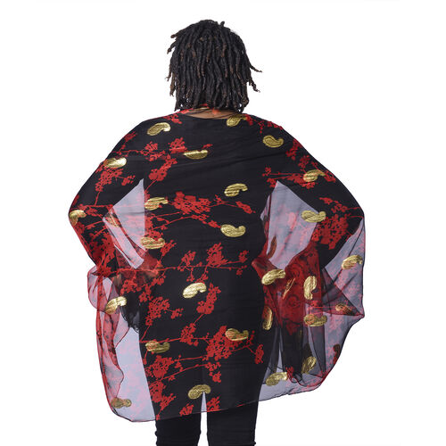 LA MAREY 100% Mulberry Silk Red Scarf with Golden Embroidery (180x110cm)