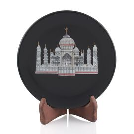 Home D?cor Handcarvd Tajmahal on Black Round Soap Stone with Wooden Stand