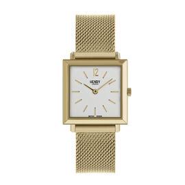 Personalised Engravable Henry London Heritage Square Ladies Silver Stainless Steel Mesh Bracelet Watch