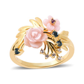 Jardin Collection Pink Mother of Pearl Floral Ring in Gold Plated Sterling Silver
