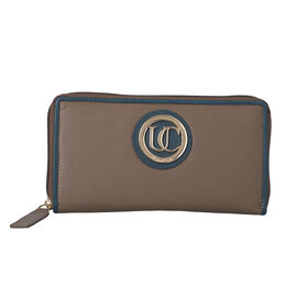 100% Genuine Leather RFID Ash Grey Wallet with Petrol Green Piping and Zipper Closure