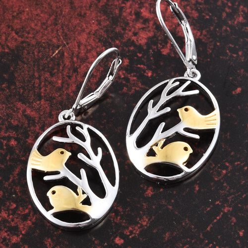 Platinum and Yellow Gold Overlay Sterling Silver Birds on Branch Lever Back Earrings, Silver wt. 4.80 Gms.