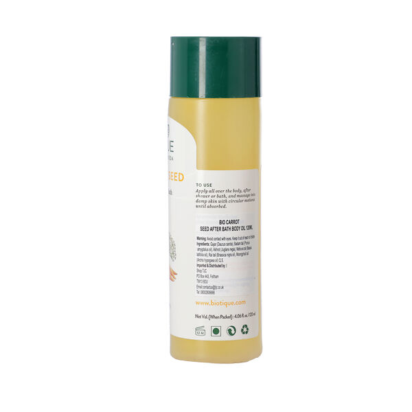 Biotique Carrot Seed Anti-Aging After-Bath Body Oil. Quantity: 120ml