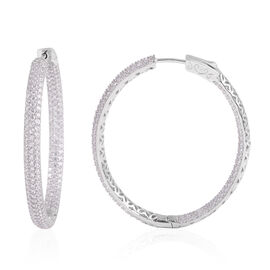 ELANZA Simulated Diamond Hoop Earrings in Rhodium Plated Sterling Silver 11 Grams