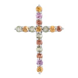 WEBEX- Rainbow Sapphire (Rnd) Cross Pendant in Platinum Overlay Sterling Silver 2.250 Ct