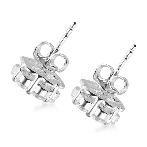 J Francis - Rhodium Overlay Sterling Silver Pressure Set Earrings (with Push Back) Made with SWAROVSKI ZIRCONIA