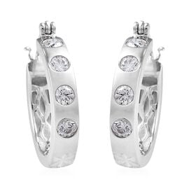 J Francis Platinum Overlay Sterling Silver Earrings Made with SWAROVSKI ZIRCONIA