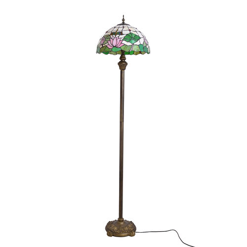 Luxury Edition - Tiffany Style Flower and Dragonfly Pattern Floor Lamp Green color Stained Glass , Pink and Multi Colour Glass 10500.000 Ct.
