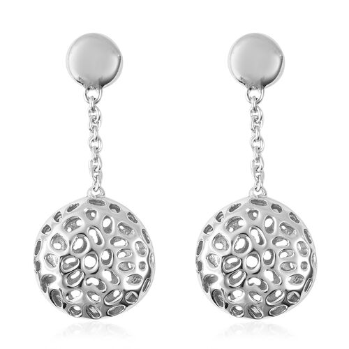 RACHEL GALLEY Dangling Lattice Globe Earrings in Rhdoium Plated Sterling Silver