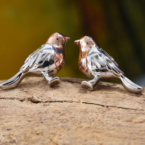 The National Bird - Rose Gold and Platinum Overlay Sterling Silver Robin Stud Earrings (with Push Back), Silver wt. 4.26 Gms