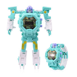 Turquoise Blue Colour Mecha Robot Electronic LED Dial Watch