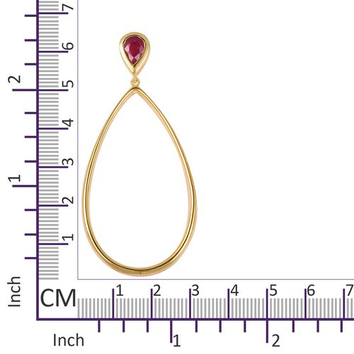 LucyQ - Open Drip Collection - African Ruby (Pear) Teardrop Dangle Earrings (with Push Back) in Yellow Gold Overlay Sterling Silver, Silver wt 10.82 Gms.