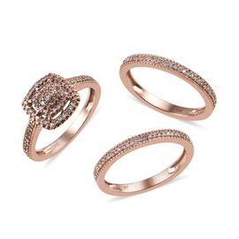 Set of 3 0.50 Ct Pink Diamond Cluster Band Ring in 9K Rose Gold 5.50 Grams