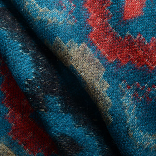 Designer Inspired -Turquoise, Red and Multi Colour Geometric Pattern Jacket (Size 85X55 Cm)