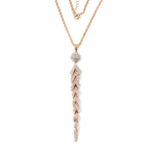 White Austrian Crystal (Rnd) Pendant With Chain (Size 30 with 2 inch Extender) in Gold Plated