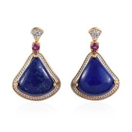 GP Lapis Lazuli, Rhodolite Garnet, Blue Sapphire and White Topaz Earrings (with Push Back) in 14K Go