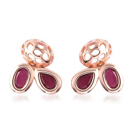RACHEL GALLEY Misto Collection - AA African Ruby Earrings (with Push Back) in Rose Gold Overlay Ster