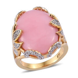 13.75 Ct Pink Opal and Cambodian Zircon Solitaire Design Ring in Sterling Silver 7.11 Grams