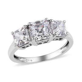J Francis Made with SWAROVSKI ZIRCONIA Asscher Cut Trilogy Ring in Platinum Plated Silver