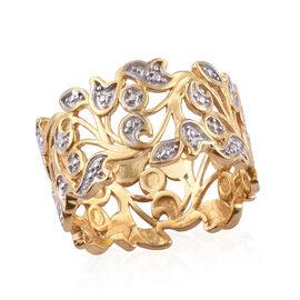 Diamond (Rnd) Leaf Ring in 14K Gold and Platinum Overlay Sterling Silver