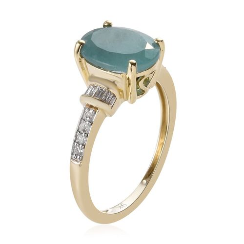 9K Yellow Gold AA Grandidierite (Ovl 10x8mm), Diamond Ring 2.75 Ct.
