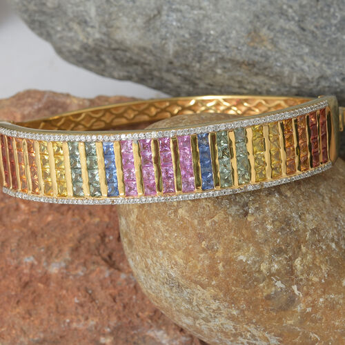Rainbow Sapphire (Princess), Natural Cambodian Zircon Bangle (Size 7.5) in 14K Gold Overlay Sterling Silver 16.000 Ct, Silver wt 35.00 Gms.