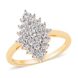 ELANZA Simulated Diamond (Rnd) Cluster Ring in Dual Tone Overlay Sterling Silver