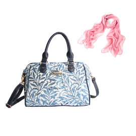 Signare Tapestry - 2 Piece Set - Light Blue William Morris Willow Bough Bowler Bag (Size 33x23x11 Cm