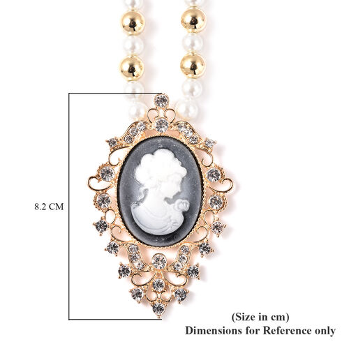 2 Piece Set - Simulated White Pearl, White Austrian Crystal Vintage Style Cameo Necklace (Size 20 with 2 inch Ext.) and Earrings (with push Back) in Gold Tone