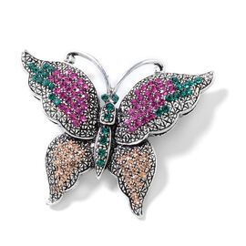 Multi Colour Austrian Crystal (Rnd) Butterfly Brooch in Silver Tone