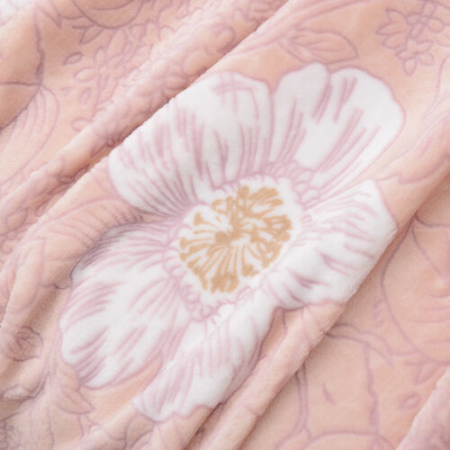 High Quality Hotel Luxury Plush Microfiber Magnolia Embossed 3D Effect-Finish Blanket (Size 200x150 Cm)
