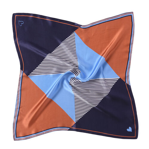 LA MAREY Pure 100% Mulberry Silk Scarf in Orange and Blue Checkers Print