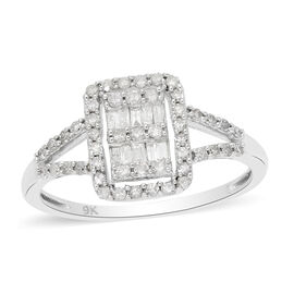 9K White Gold SGL Certified White Diamond (I3/G-H) Ring 0.50 Ct.