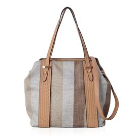 Brown and Beige Stripe Large Tote Bag with Adjustable Shoulder Strap (Size 43x32x28.5x15.5 Cm)