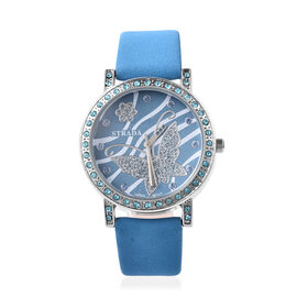 STRADA Japanese Movement Simulated London Blue Topaz Studded Butterfly Motif Dial Water Resistant Wa