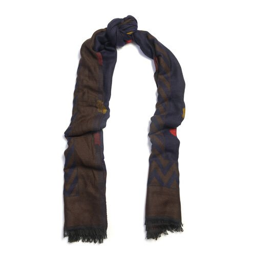 Blue and Brown Blend Colour Scarf (Size 185x70 Cm)