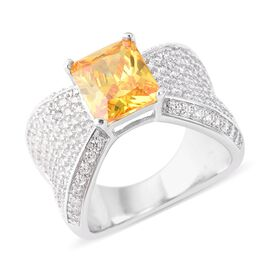 Designer Inspired- Simulated Yellow Sapphire (Oct 10x8mm), Simulated White Diamond Ring (Size O) in Silver Pl