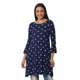 Navy Blue and White Colour Polka Dots Printed Dress