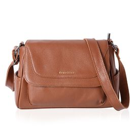 Sencillez 100% Genuine Leather Italian Tan Cross Body Bag with Zipper Pocket and Adjustable Shoulder Strap (Size 27x18x11 Cm)