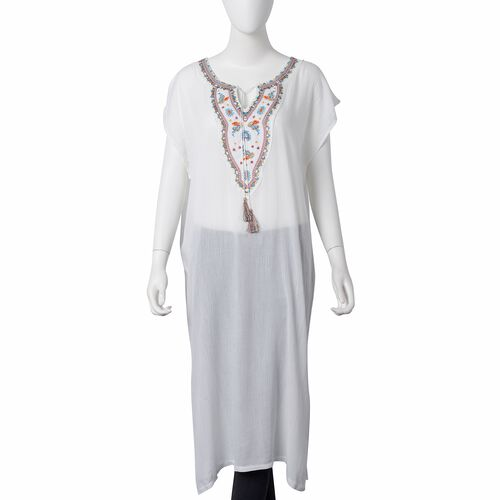 Designer Inspired- White, Light Blue and Multi Colour Ethnic Style Flower Embroidered Beach Cover Up